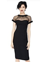 JFS Women's Elegant Mesh&Lace Fitted Dress