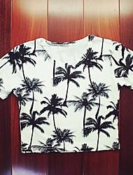 Camiseta (Algodão/Elastano) Sensual/Casual/Estampa - Fina - Curto