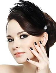 Feather Rhinestone Hairbands Black(1Pc)