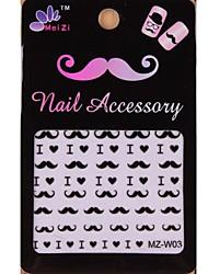 1PCS Cartoon Mustache Style Nail Art Stickers MZ Series MZ-W03