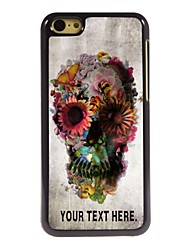 Personalized Case Skull and Flower Design Metal Case for iPhone 5C