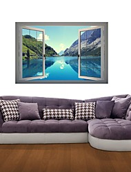 Adesivos de parede adesivos de parede 3d, lagos de montanha de parede decoração adesivos de vinil