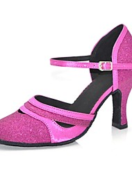 Customizable Women's Dance Shoes Modern Satin/Paillette Customized Heel Black/Gold/Fuchsia