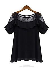 Women's Letter Black T-shirt Short Sleeve Lace/Ruffle