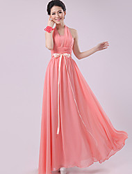 Floor-length Chiffon Bridesmaid Dress - Watermelon Sheath/Column Halter