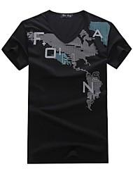 Informeel - Opdruk - Korte Mouw - MEN - Katoen - T-shirts - Zwart/Groen/Wit/Geel/Grijs
