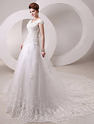 A-line Queen Anne Cathedral Train/Floor-length Wedding Dress