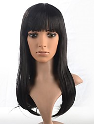 Capless Lady's Medium Length Natual Black Synthetic Wig with Full Bang