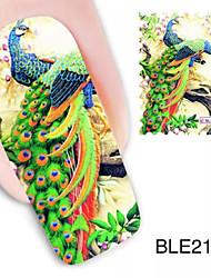 1PCS Peacock Design Watermark Nail Art Stickers BLE2113