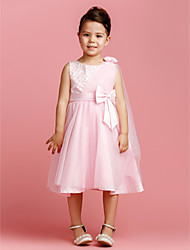 A-line/Princess Tea-length Flower Girl Dress - Satin/Tulle
