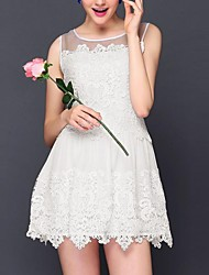 Women's Patchwork Blue/White Dress , Lace/Cute Round Neck Sleeveless