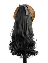 14 Inch Wave Black Clip In Ribbon Ponytail High Quality Heat Resistant Fiber Synthetic Hairpiece