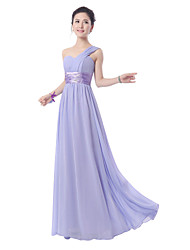 Floor-length Chiffon Bridesmaid Dress - Lavender Sheath/Column One Shoulder