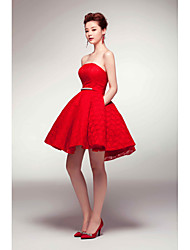 Cocktail Party Dress A-line Strapless Short / Mini Satin with