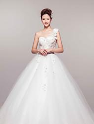 Ball Gown Court Train Wedding Dress -One Shoulder Organza