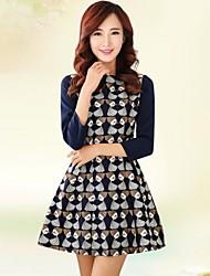 Women's Horizontal Collar Three Quarters Sleeve Zipper Casual Dresses