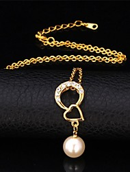 U7® 18K Real Gold Plated Heart Necklace Rhinestone Pearl Necklace Pendant Necklace Fashion Jewelry