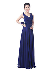 Floor-length Bridesmaid Dress - Ruby / Royal Blue Sheath/Column Straps