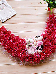 "19.7"" Rural Style Rose Red Simulation Flower Garland with Toy Bears Plastic Semi-Circle Garland"