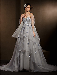 Ball Gown Petite / Plus Sizes Wedding Dress-Silver Chapel Train Sweetheart Organza