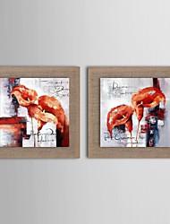 peinture à l'huile fleur abstraite moderne ensemble de deux main linge paintednatural avec cadre étiré