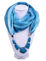 D Exceed  Women Gradient Design Infinity Ring Light Blue Scarves Voile Scarf with Irregular Stone Pendant Scarfs