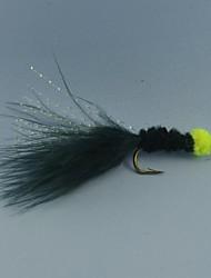 12pcs ovo sucção sanguessuga voar cor preta com marabu flashabou truta tamanho streamer pesca # 6