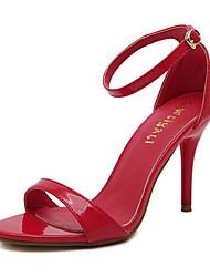 Sandalias ( Rojo/Plateado Tacones/Plataforma/Talón abierto - Tacón de estilete - Cuero de charol - para MUJERES