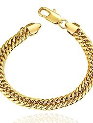 Fashion Generous Women's 9M Sideways Gold Plated Brass Chain & Link Bracelet(Golden)(1Pc)