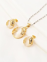 Fashion Waterdrop Amber Stainless Steel(Necklace&Earrings) Jewelry Set