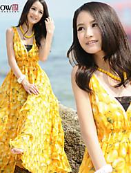 MiShow®Women's Sexy V-neck Sweet Pattern Bohemian Style Design Sleeveless Slim Maxi  Chiffon Beach Dress