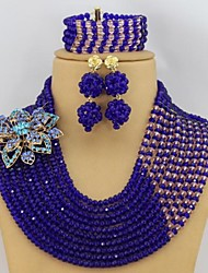 Royal Blue African Beads Jewelry Set Fashion Rhinestone Flower Nigerian Wedding Beads Jewelry Set
