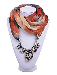 D Exceed  Women Gradient Design Infinity Ring Scarves Voile Scarf with Irregular Leopard Drip Stone Pendant Scarfs
