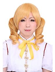Angelaicos Women Tomoe Mami Puella Magi Madoka Magica Lolita Short Blonde 2 Ponytails Costume Party Cosplay Full Wig