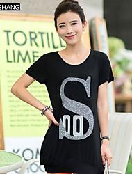 bs®women der runden Kragen lässig Druck Kurzarm-T-Shirt