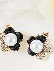 ZGTS Women's Gorgeous 18K Gold Pearl Flower Earring