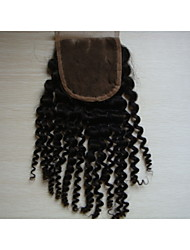 "12""Kinky Curly Brazilian Virgin Hair Hair Pieces Lace Closure 4""x4""  Free Style 1Pc Natural Colour"