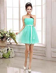 Knee-length Chiffon / Tulle Bridesmaid Dress A-line / Princess Strapless with Sash / Ribbon / Criss Cross