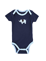 Boy's  Cotton Blue Elephant Embroidery   Short Sleeve Baby Romper