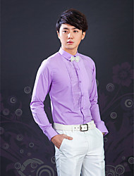 Shirts Classic (Semi-Spread) Long Sleeve Cotton/Polyester Solid Lavender