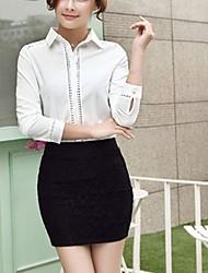 Women's Casual Work Micro Elastic Long Sleeve Regular Blouse
