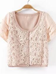 Women's Pink Cardigan , Print/Lace Short Sleeve