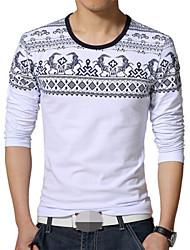 ronde kraag natie druk met lange mouwen t-shirts voor mannen (meer kleuren)