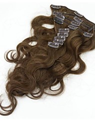 90-130g(9pcs)/set Brazilian Virgin Hair #4  Brown Clip In Hair Extension Body Wave Clip In Human Hair Extensions