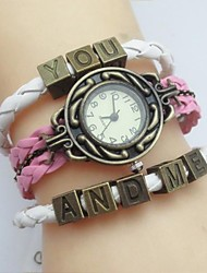 Fashion Handmade Women's Watch YOU AND ME Leather Weave Band