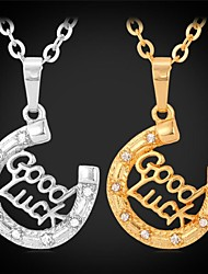 InStyle 'Good Luck' Rhinestone Necklaces Pendants 18K Real Gold Plated Charm Fashion Jewelry Unisex High Quality