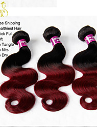 """3 Pcs Lot 14""""-28"""" Ombre Indian Virgin Human Hair Extensions/Weaves Body Wave 2 Two Tone Black Burgundy Wine Red 1B/99J"""
