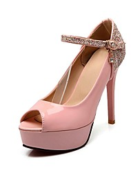 Women's Shoes Patent Leather Stiletto Heel Peep Toe Pumps Shoes with Chain More Colors available