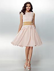 Cocktail Party Dress - Pearl Pink Plus Sizes / Petite A-line / Princess Jewel Knee-length Chiffon