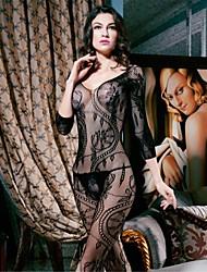 Lingerie en Dentelle Ultra Sexy Vêtement de nuit Femme Couleur Pleine Nylon Spandex Noir